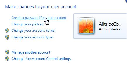 membuat password user account