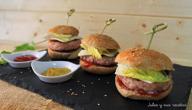 Mini hamburguesas de pan integral. Julia y sus recetas