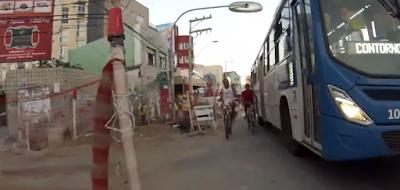 Vídeo mostra perigo que os pedestres enfrentam todos os dias no trecho em obras na Paciência