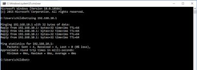 cek ping server dhcp dari client