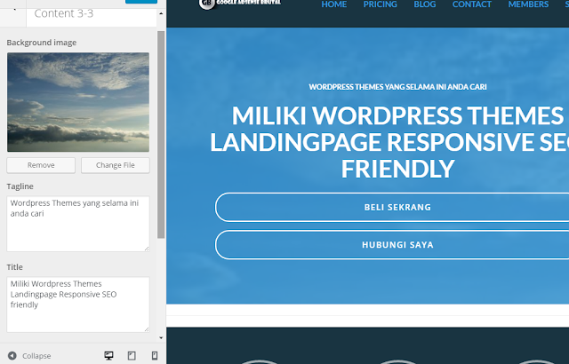 wordpress themes landing page responsive