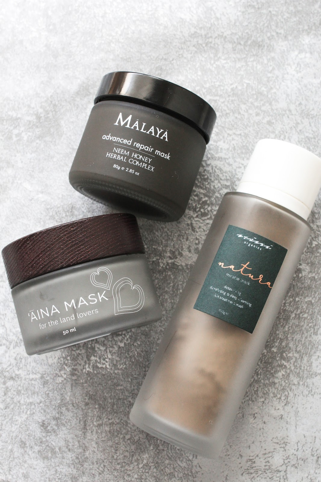 Malaya Organics Advanced Repair Mask, Honua Aina Mask, Nini Organics Natura Miracle Mask