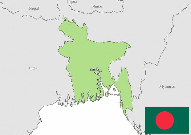atau lebih tepatnya di Asia Selatan dengan ibukota Dhaka Peta Negara Bangladesh Lengkap dengan Kota, Sumber Daya Alam, Batas Wilayah dan Keterangan Gambar Lainnya