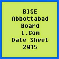 BISE Abbottabad I.Com Date Sheet 2017, Part 1, 2