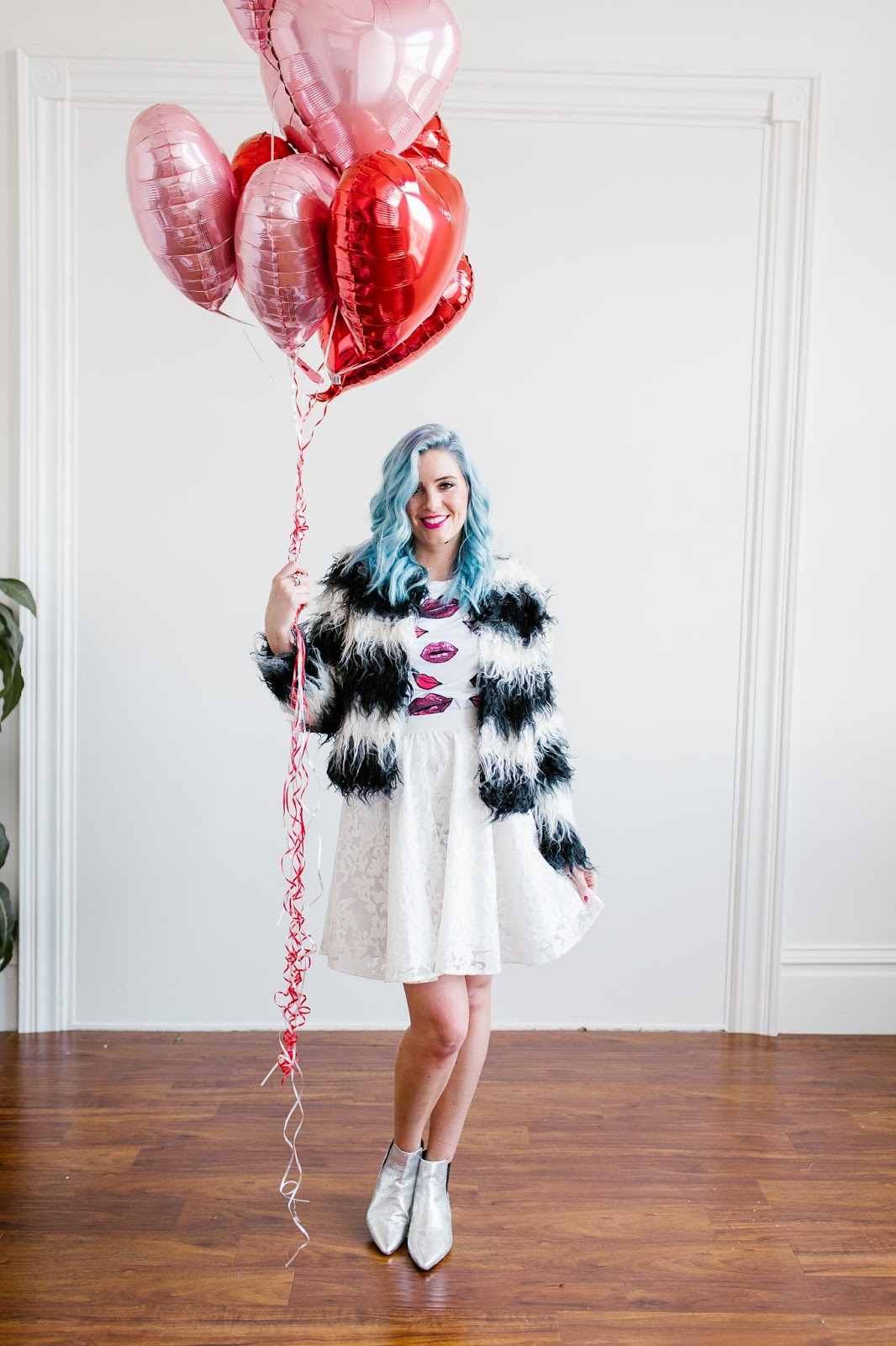 Black and White Fur, Silver Boots, Blue Hair