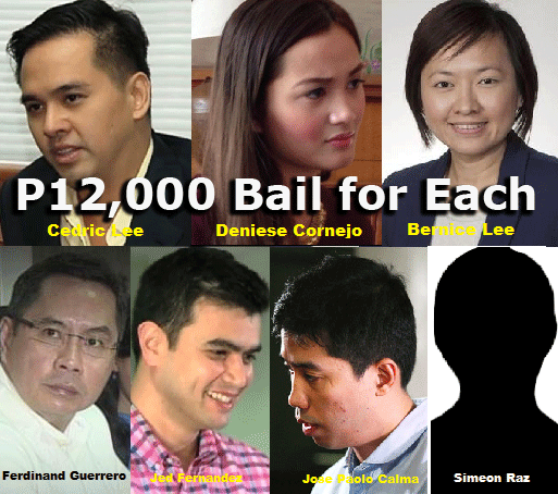 Bail for Deniese Cornejo, Cedric Lee, Bernice Lee, Jed Fernandez, Zimmer Raz, JP Calma and Ferdinand Guerrero Set at P12,000 Each