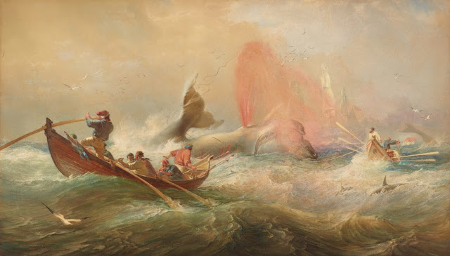 "Artwork, XIX century art, watercolours, ""Whalers off Twofold Bay, New South Wales"" by Sir Oswald Brierly, 1867."
