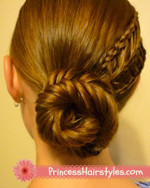 Fishtail bun with arrow braid tutorial