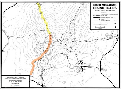 Map of Mt. Monadnock highlighting the M-M Trail and Monadnock Sunapee Greenway