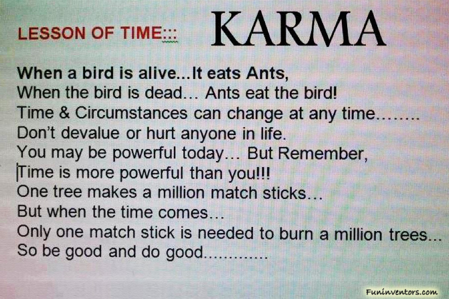 Karma Quotes Sayings: Lesson Of Time..KARMA