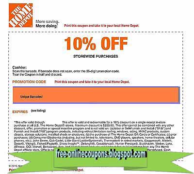 Home depot coupon code 2018
