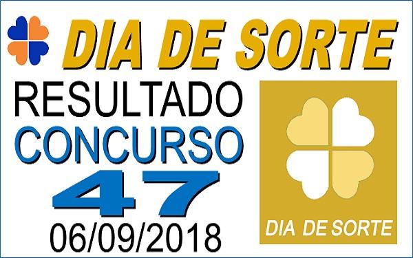 Resultado do Dia de Sorte concurso 47 de 06/09/2018 (Imagem: Informe Notícias)