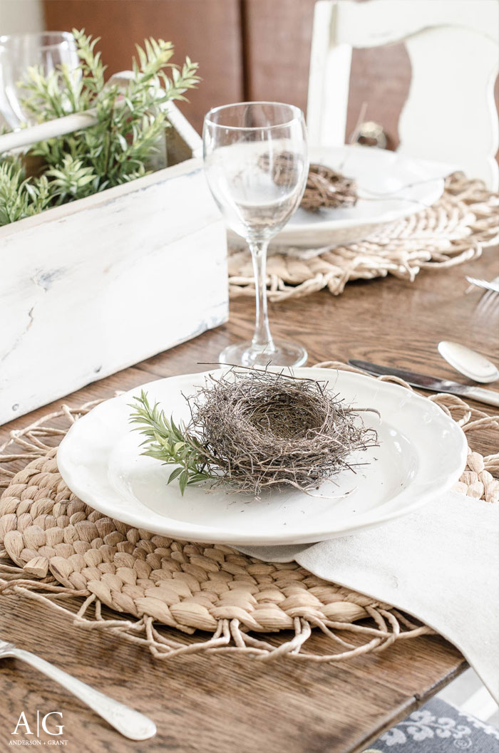 Spring tablescape idea - a gathered nest displayed on each plate with