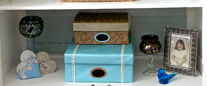 DIY Decorative Box Storage - image of third shelf showing decorative boxes and vignettes
