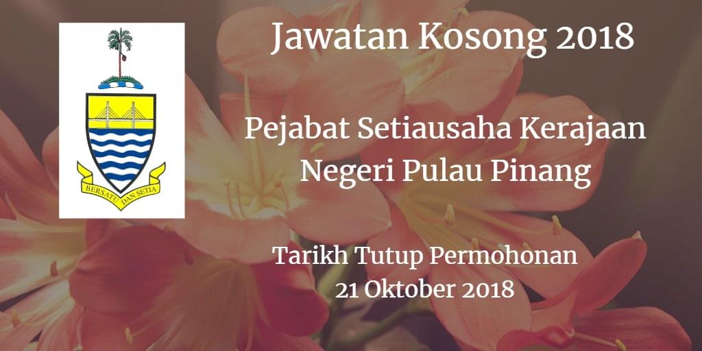 Jawatan Kosong Pejabat Setiausaha Kerajaan Negeri Pulau Pinang 21 Oktober 2018