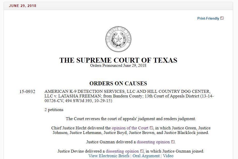 Tex App : More Tort Immunity from Texas High Court: K-9