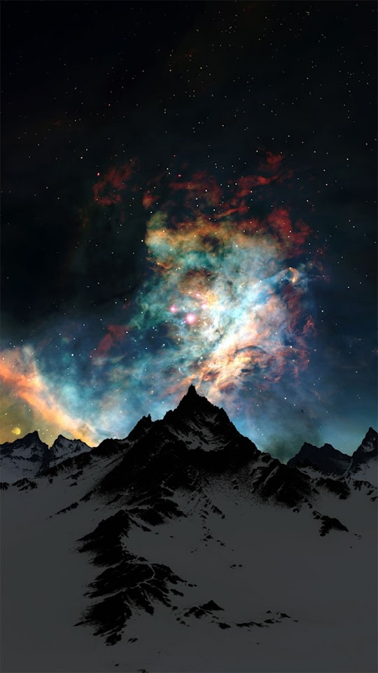 Nebula Over Mountain Abstract Space  Galaxy Note HD Wallpaper
