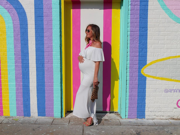 White Off-the-Shoulder Maternity Dress
