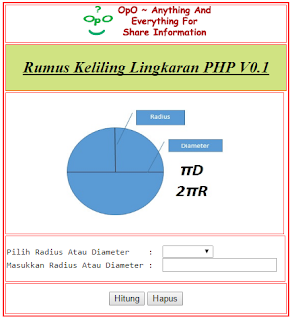 Menghitung Keliling Lingkaran Menggunakan PHP Dan HTML