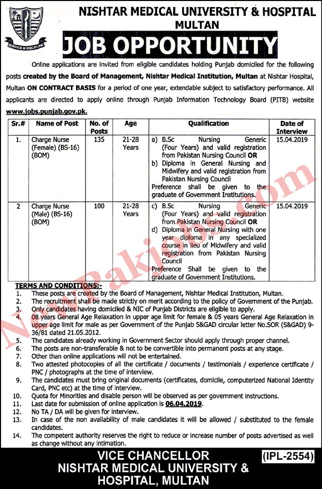 235 Jobs for Nurses in Nishtar Medical University & Hospital Multan 22 Mar 2019