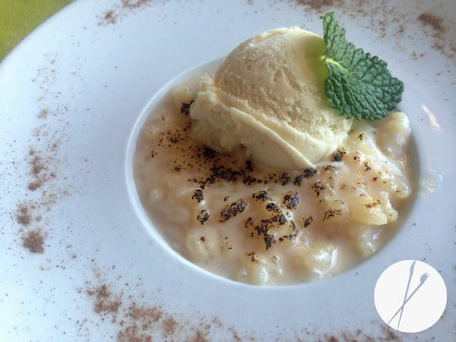 Arroz con leche con helado de mantecado
