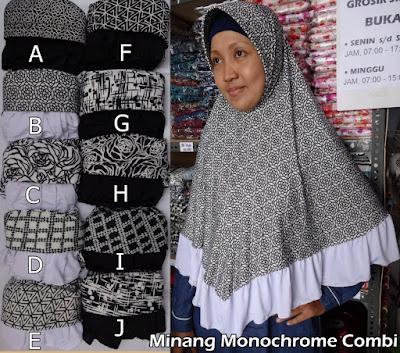Grosir Jilbab Monochrome Kombinasi