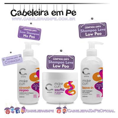 Linha Cachos Tipo 2 Make Curl - Amávia (Cowash liberado para No Poo, Leave In Cachos e Soufflé Hidratante E Nutritivo liberados para Low Poo)