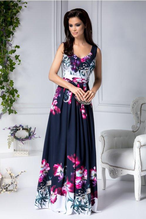 Rochie de seara lunga bleumarin cu imprimeu floral