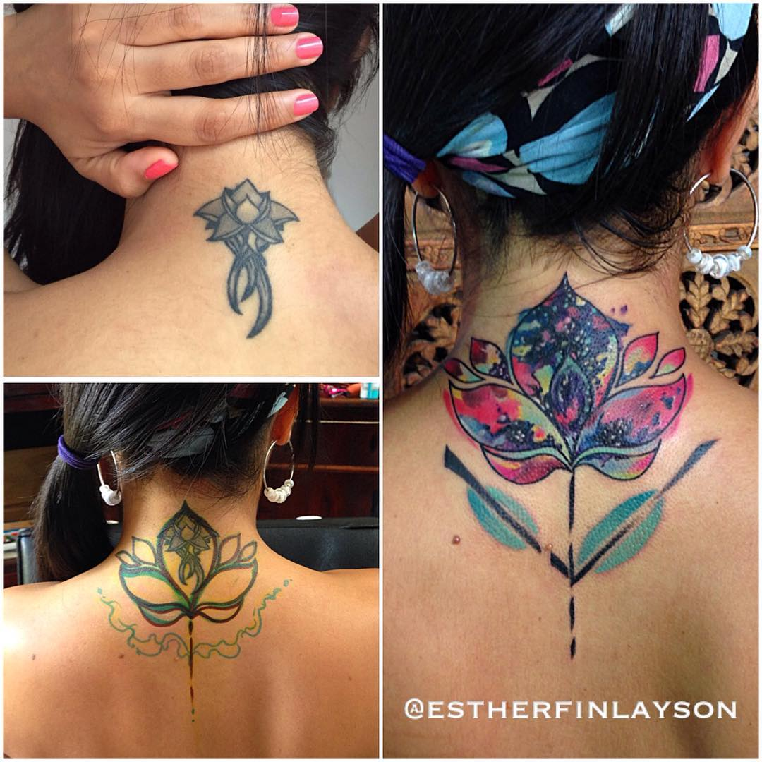 Neck Multi Color Flower Cover Up Tattoo Tattoo Covers