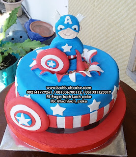 Kapten Amerika Fondant Kue Tart Ulang Tahun