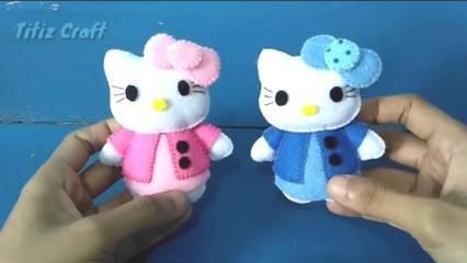 Cara Membuat Boneka Hello Kitty dari Kain Flanel