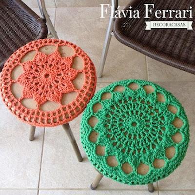 DIY Decoração - Capa Para Banquinho Redondo em Croche Com Barbante - Gráficos e Sugestões 37