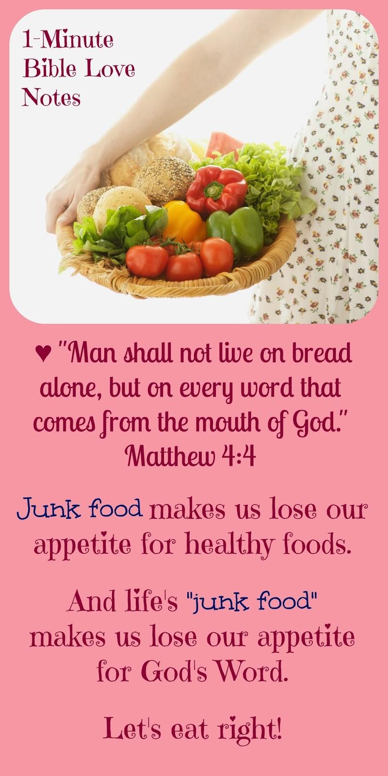 Matthew 4:4, God's Word, Eating right spiritually