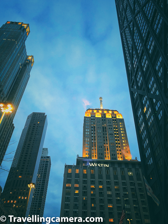 If you look at the variety of photographs in this post, it's evident that I took multiple walks around Magnificent Mile and that too during different hours of the day. You would see daylight landscapes as well as some of these blue hour shots of high-rise buildings from Chicago City.