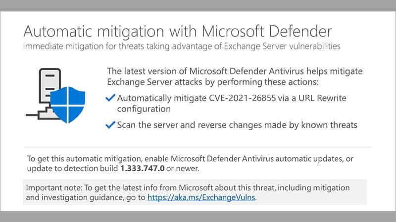 Microsoft Defender Antivirus now automatically mitigates Exchange Server vulnerabilities