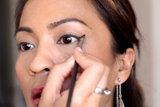 If it's an eyeshadow, tapered eyeliner or eyeliner paint should not be left behind.