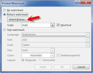 watermark format gambar backgroun di word