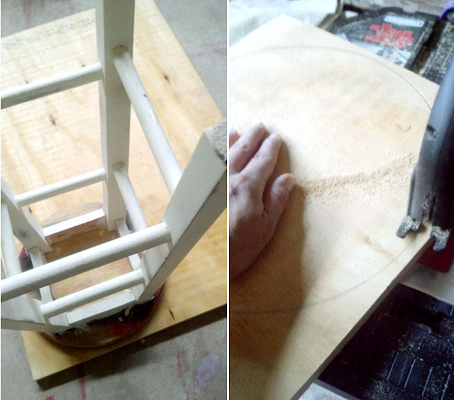 DIY -kitchen stool seat