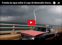 Tromba de Agua pasando sobre el puente del Lago de Maracaibo
