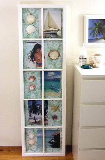 Old Window Frame Makeover into Wall Art with Beach Memories