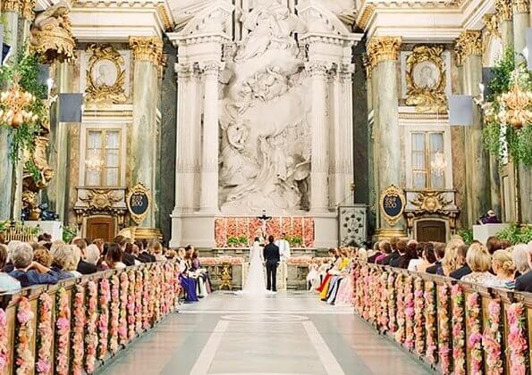Prince Carl Philip and Princess Sofia, Duke and Duchess of Varmland, married in Stockholm Royal Palace chapel. wedding ceremony dress
