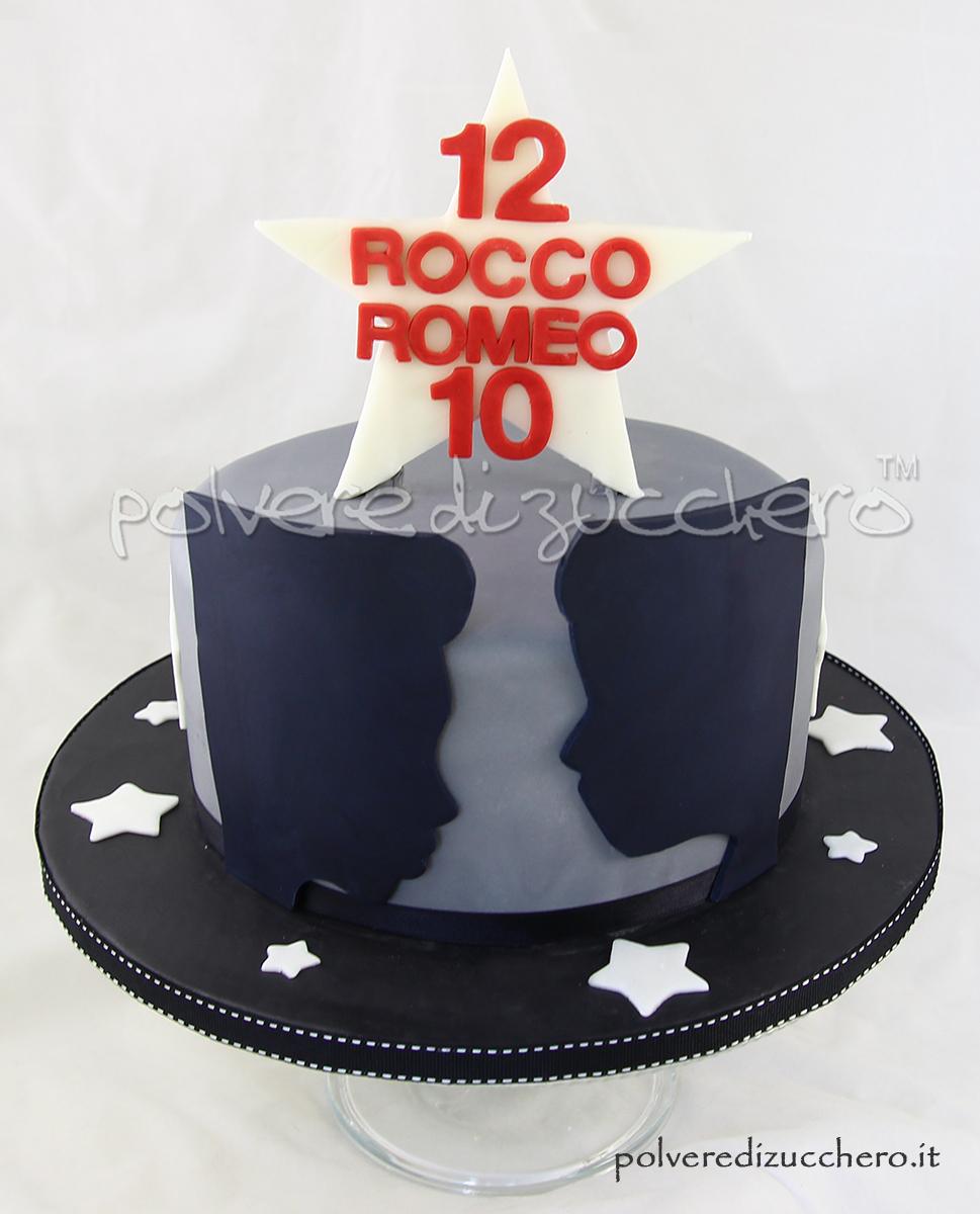 torta silhouette pasta di zucchero cake design torta decorata stelle visi fratelli polvere di zucchero