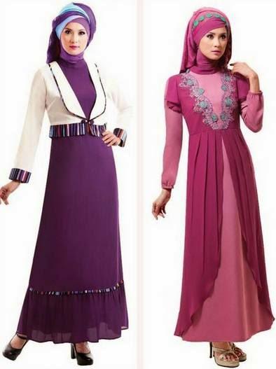 Contoh model baju muslim gamis brokat untuk guru
