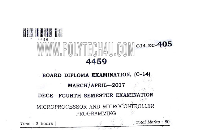 C-14 DECE MARCH/APRIL-2017 PREVIOUS QUESTION PAPER MICROPROCESSOR AND MICROCONTROLLER PROGRAMMING