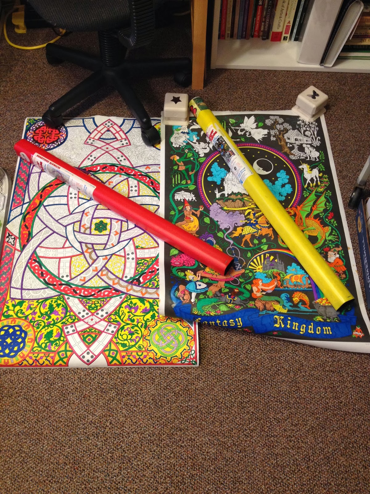 It is an image of Simplicity giant coloring posters in tubes