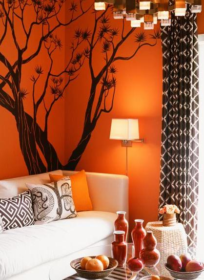 Childrens curtains tips on great sources for creative children 39 s curtains dark chocolate - Brown and orange living room ...
