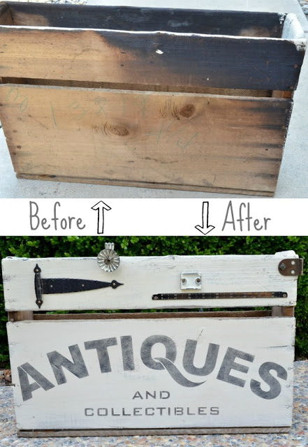 transform an ugly old box with a little paint, hardware, and stencil