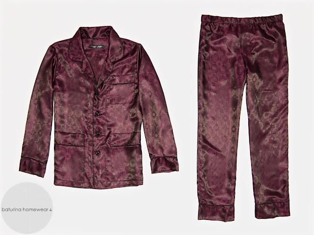 Mens burgundy silk pajamas red paisley silk luxury pajama set