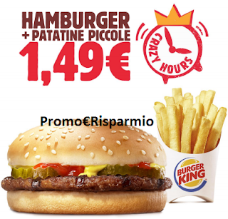 Logo Burger King: coupon Hamburger + patatine a soli euro 1,49