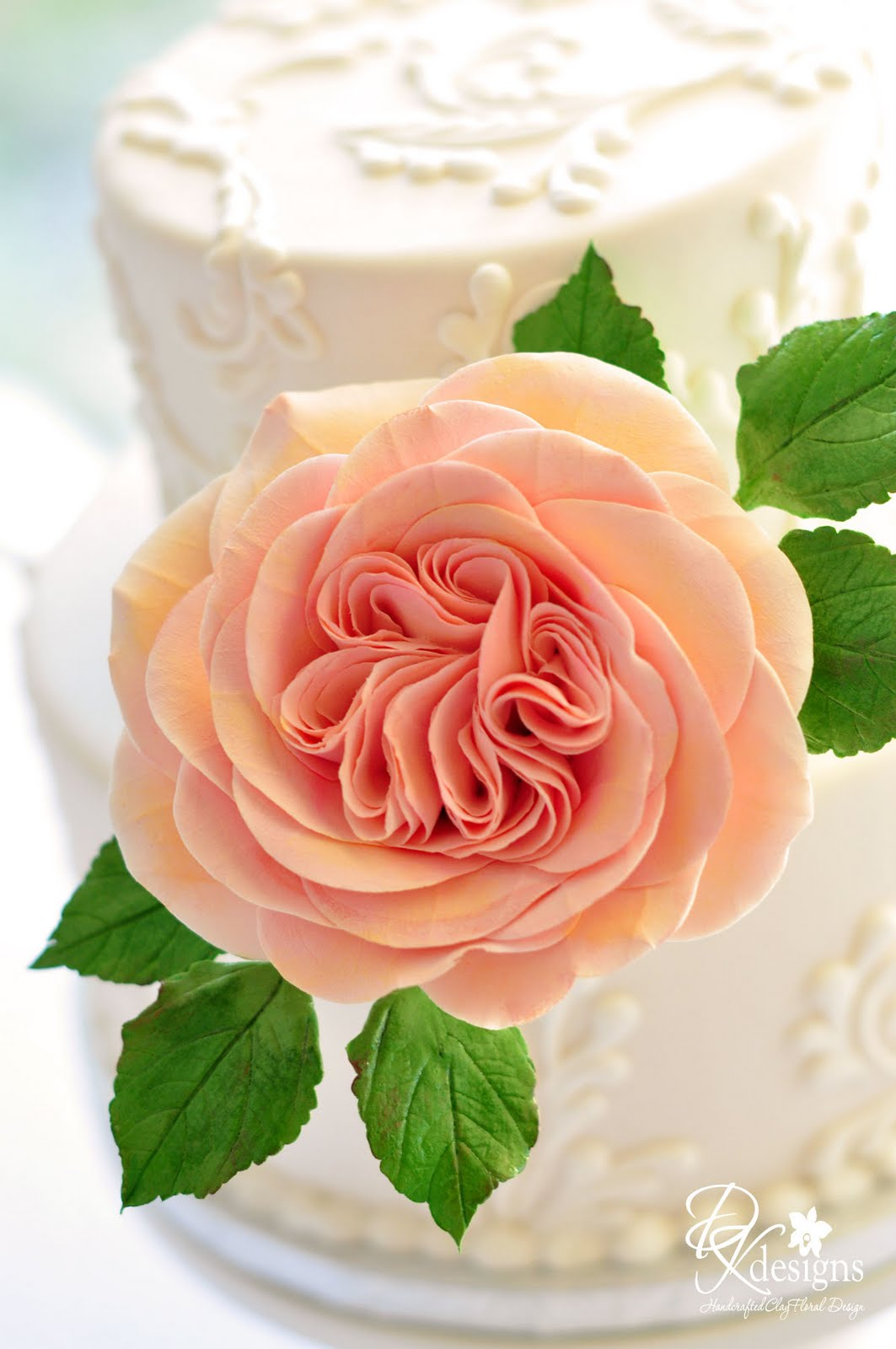 Another Etsy Bride Asked Me If I Could Make A 4 Inch Peach Rose For Her Wedding Cake She Send Photo Of What Had